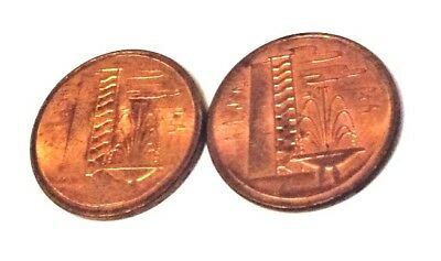 1976 & 1977 Vintage Singapore 1 Cent Coins - Building And Fountain