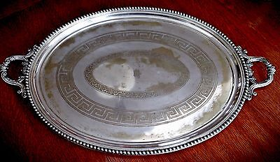 """Civil War Era Rogers, Smith Co. Silverplate Serving Tray - Largest Ever Made 34"""""""