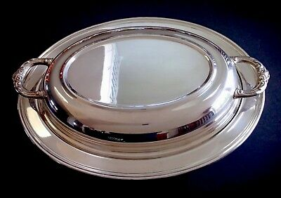 """Vintage Leonard Silverplate Oval Serving Dish With Lid 11 1/2"""" x 8 3/4"""""""
