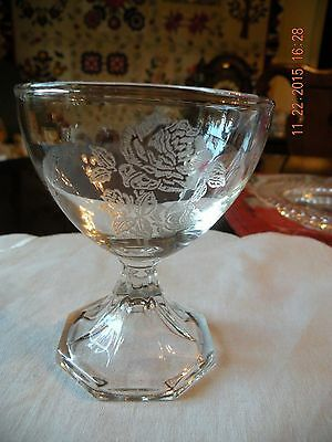 Antique Crystal Champagne Sherbert Coupes Rose Etched - (4)a RARE - EC