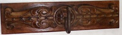 Antique redefined Carved Wall Coat hanger Kunti Iron hook ornament wood back Q1