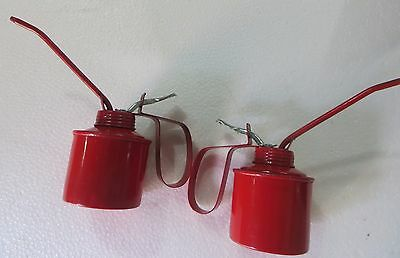 """Vtg.Red Oil Can Metal Oilier 5"""" Spout Lubricant tin container Petroliana C1950-2"""