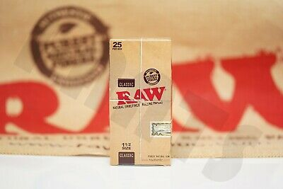 FULL BOX 25 PACKS(32 Leaves Per Pack) AUTHENTIC RAW ROLLING PAPER 1 1/2 SIZE