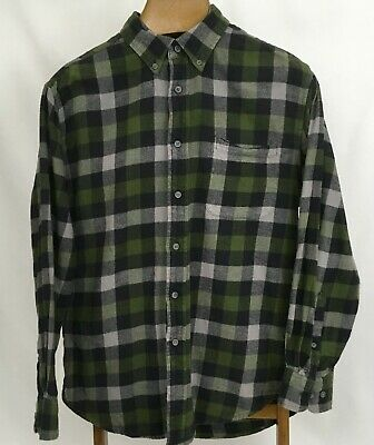 Croft & Barrow Mens Size M Flannel Long Sleeved Button Green Plaid Shirt