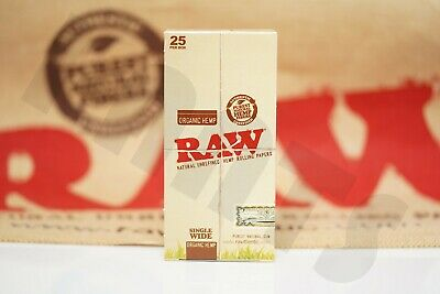 Full Box 25 Packs Authentic Raw Rolling Paper Organic Single Wide