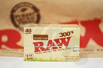 FULL BOX 40 PACKS(300 Per Pack) AUTHENTIC RAW ROLLING PAPER ORGANIC 300'S 1 1/4