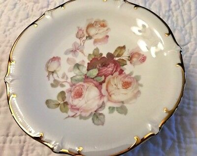 "Lot/Set 6 Vintage Schumann Bavaria Antique Rose 7 1/4"" Dessert Plates"