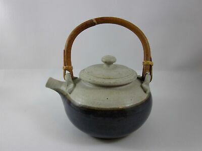 Hand Made Pottery Blue and Cream Tea Pot with Wooden Handle
