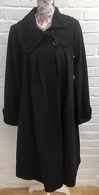 Jojo Maman Bebe Maternity Coat 8 Black Wool Blend Swing Long Jacket