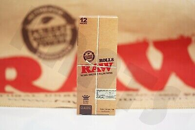 FULL BOX 12 PACKS(3 Meters Each) AUTHENTIC Raw King Size Rolls Rolling Paper
