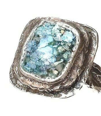 Roman Glass Fragments Ring Size:8 S.Silver 925 Ancient 200 B.C Bluish Patina Is.