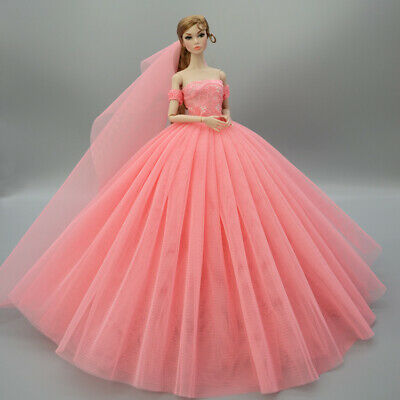 Fashion Party Princess Dress Wedding Clothes/Gown+veil For 11.5 inch Doll a11