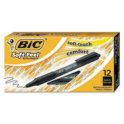 BIC Soft Feel Retractable Ballpoint Pen 1mm Med Black Elegant 2PkX12=24Ct Nice!