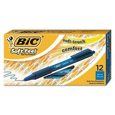 BIC Soft Feel Retractable Ballpoint Pen 1mm Med Blue Durable 2PkX12=24Ct Nice!