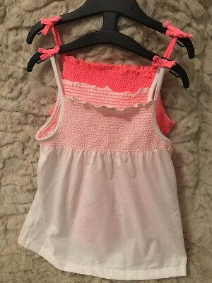 Girls 2 Pack Summer Tops - White & Pink Age 1.5-2 Years
