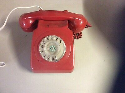 GPO Vintage Old Red Dial Telephone