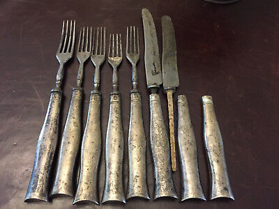 8x 1843 Austro-Hungarian 0.8125 13 Loth Silver Table Forks & Knives 531g