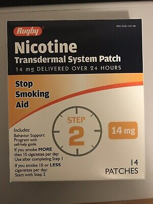 Rugby Nicotine Patch Transdermal System 14mg 14ct Step 2  EXP 03/20