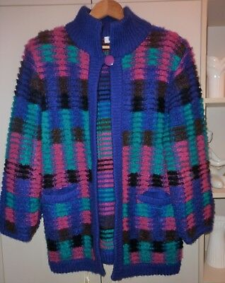 VINTAGE 1980s FUNKY ACRYLIC CARDIGAN/JACKET SIZE M EXCELLENT CONDITION