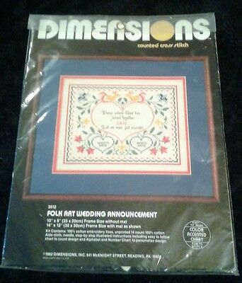 Dimensions Folk Art Wedding Announcement 3512 New
