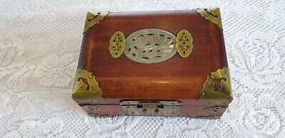 Vintage chinese jewellery box with carved jade inset and brass mounts