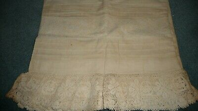 #321B Antique Victorian Era Pair Home MADE Pillowcases w Net Lace Border AS IS