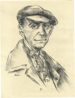 Peter Collins ARCA - Signed c.1970s Charcoal Drawing, Portrait of P. Healy