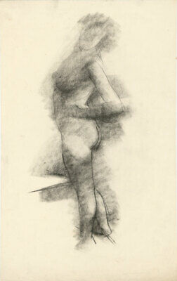 Peter Collins ARCA - c.1970s Charcoal Drawing, Female Nude Figure