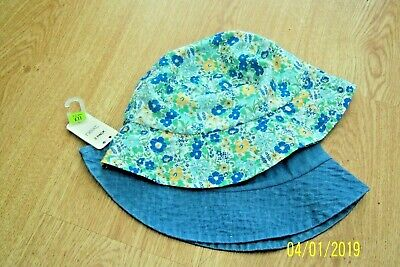 Pack Of 2 Baby Girls Cotton Sunhats 1 - 2 Years 1 Denim Blue & 1 Floral Bnwt