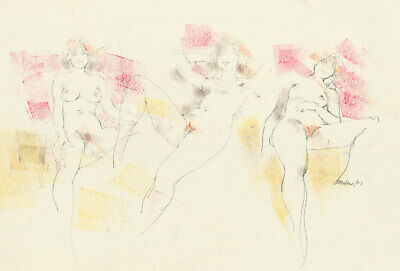 Peter Collins ARCA - Signed 1977 Pastel, Reclining Life Sketches