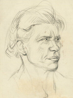 Peter Collins ARCA - c.1970s Graphite Drawing, Portrait of an Older Woman