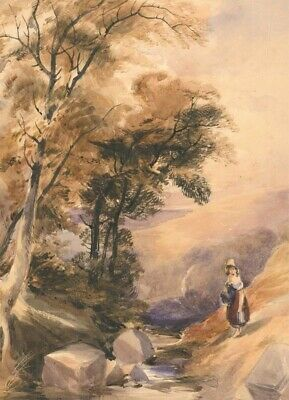 English School 19th Century Watercolour - Oval River Landscape with Figure