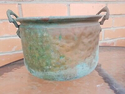 Vintage BRASS/COPPER mix Hammered Pot for Home Garden