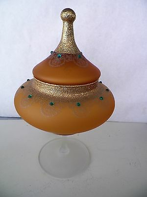 11'' Frosted Amber Lided  Glass Compote Gold And Jewel Accent