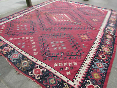 Antique Traditional Turkish Oriental Hand Made Kilim Rug 405x345cm Red Wool