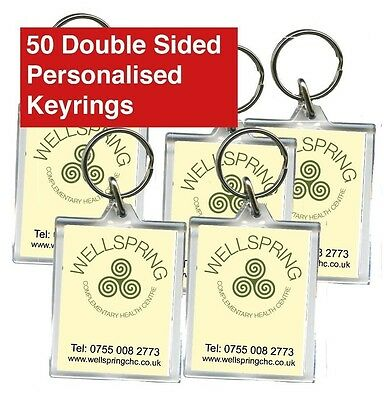 50 Promotional Double Sided Keyrings, Personalised, Business, Clubs, Charity