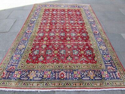 Old Hand Made Traditional Persian Rug Oriental Wool Red Large Carpet 296x205cm