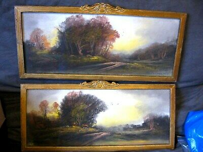 2 Signed Landscape Pastel Paintings/British Artist Charles Chadwick dated 1890