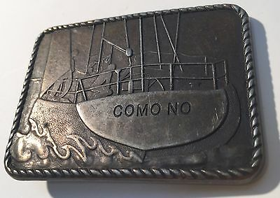 "Vintage Como No Belt Buckle Ship Boat Sailing Rope Border 3"" x 2.25"" (2-1/4"")"