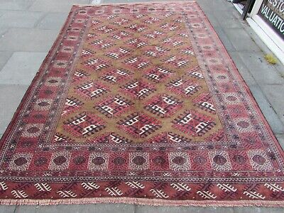 Old Hand Made Traditional Persian Rug Oriental Wool Brown Large Carpet 323x212cm
