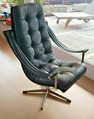 Chrom Leder Lounge Chair Sessel Drehstuhl
