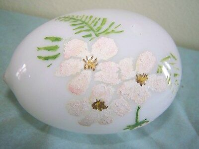 Antique Victorian Era Blown Glass Hand Painted Egg Decorated Nicely