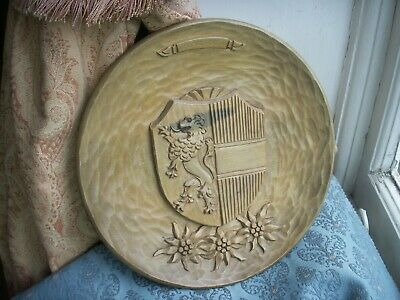 Old Vintage Antique Black Forest Carving Salzburg Austrian Wooden Plaque Crest