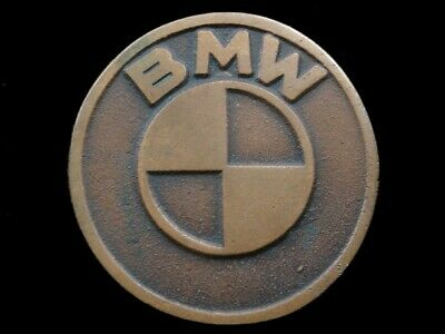 RK05175 COOL VINTAGE 1970s **BMW** CAR COMPANY LOGO SOLID BRONZE BELT BUCKLE