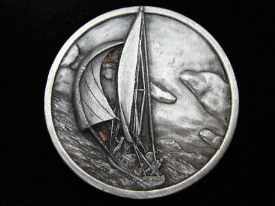 Qi15127 Vintage 1977 **Sail Boat** Artwork Pewter Bergamot Belt Buckle