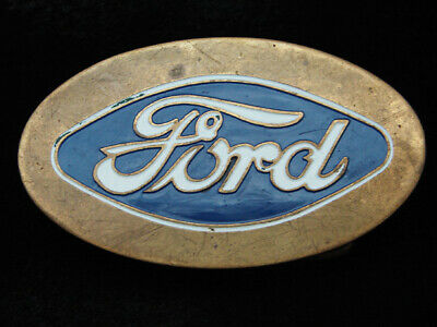 RC15133 VINTAGE 1970s **FORD** MOTOR COMPANY LOGO SOLID BRASS BARON BELT BUCKLE