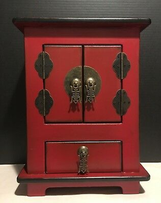 Small Red Chinese Style Chest with Drawer