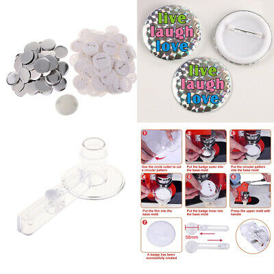 Acrylic Badge Circle Cutter with 100 Button Parts for Button Maker Machine