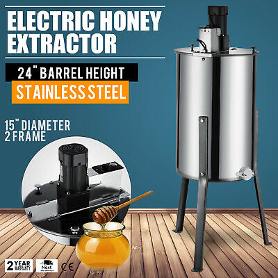 2 Frame Electric Honey Extractor 2 Outlet 2 Clear  Lids Stainless Steel