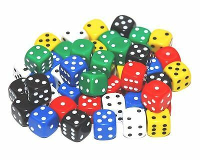 50 Mixed Colour Dice, 12mm , D6 (6 sided)
